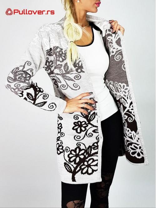 Ženski Džemper Sa Cvetnim Motivima