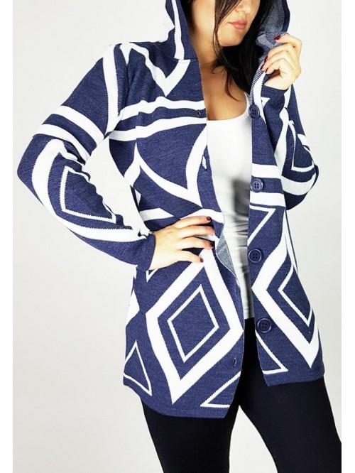 Ženski džemper na kopčanje sa kapuljačom romb