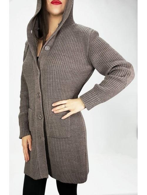 Ženski džemper na kopčanje deblji sa džepovima...