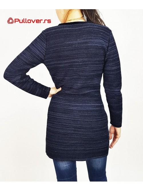 Ženski džemper na kopčanje duži