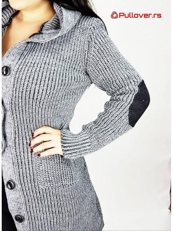 Ženski Džemper Na Kopčanje Sa Kapuljačom deblji