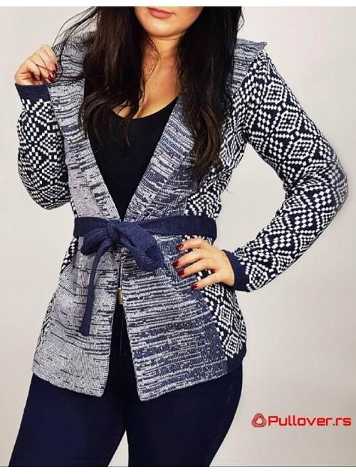 Ženski džemper na vezivanje sa kapuljačom